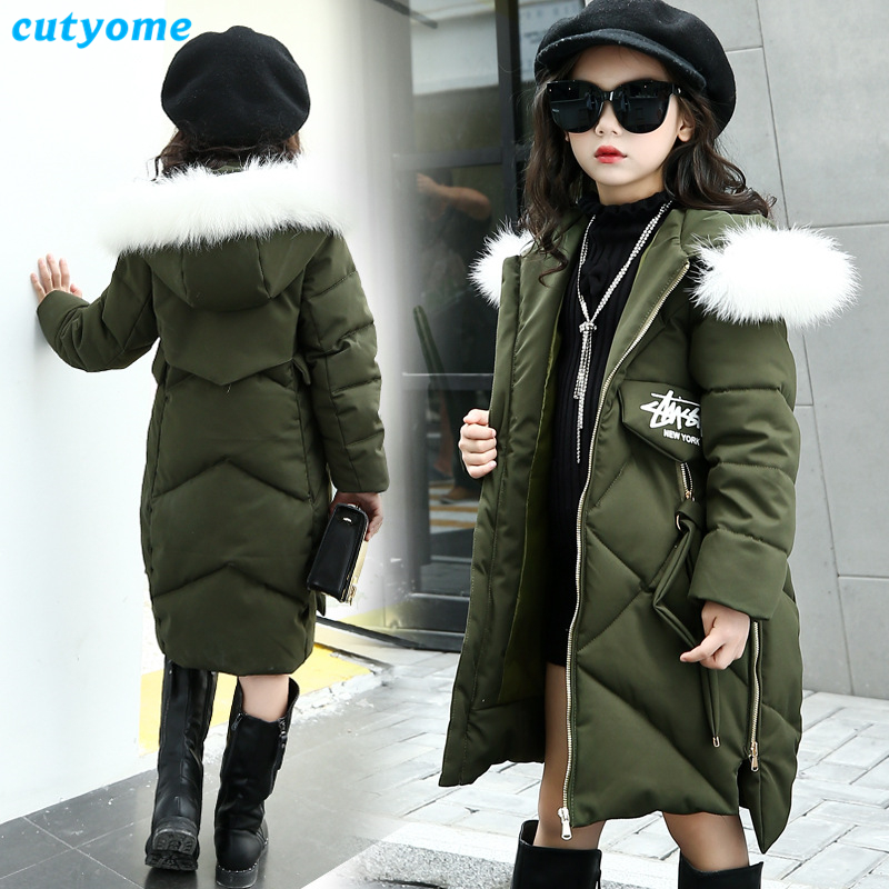 Cutyome Children Down Jackets 2017 Winter Windproof Warm Parkas Coats for Teenage Girls Down Jacket Outerwear & Coat 5-16 Years new children down jacket out clothing winter ski clothes winter jacket for girls children outerwear winter jackets coats