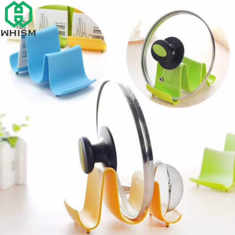 WHISM Plastic Kitchen Wave Shape Pot Holder Pan Cover Lid Shell Stand Spoon Rests Ladle Display Storage Rack Cooking Tools