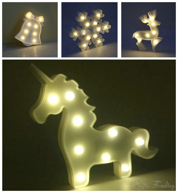 Unicorn Lamp LED Table Night Light Marquee Flamingo Pineapple Fairy Outdoor Garland Christmas Home Party Decoration 3D Desk Lamp