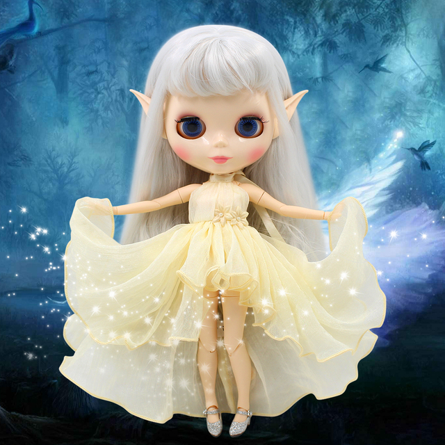 Fortune days factory blyth doll gray hair with ears white skin joint body, no need to cut the original ears, clay as a gift