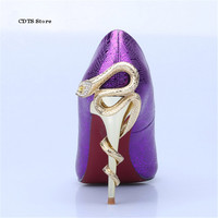 CDTS Plus:35 42 Fashion personality metal rhinestone shallow mouth stiletto single party shoes Gold snake Thin Heels woman pumps