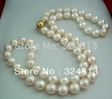 choker Women Gift word Love Natural 8-9MM White Akoya Cultured Pearl Necklace #1787 &aa **A good wedding Noble style anime
