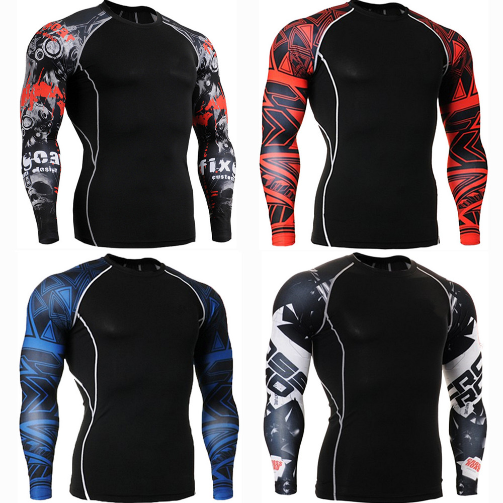 Men/'s Cycling Base Layer Sports Underwear Long Sleeves Compression Tight T-shirt