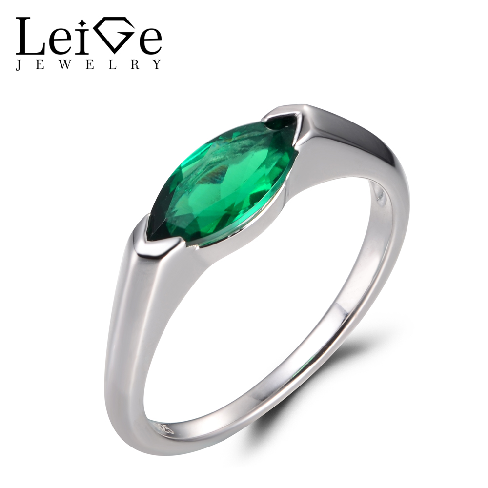 LeiGe Jewelry Emerald Wedding Rings May Birthstone Rings Marquise Cut Green Gemstone Genuine 925 Sterling Silver Solitaire Rings