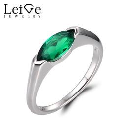 LeiGe Sieraden Emerald Trouwringen Kan Birthstone Ringen Marquise Cut Green Edelsteen Echt 925 Sterling Zilver Solitaire Ringen