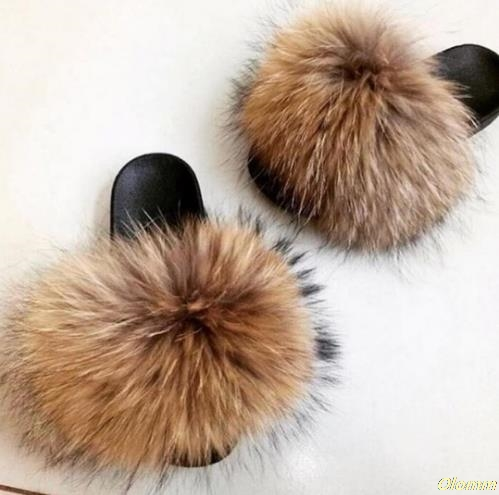 Women Summer Real Fox Fur Slides Women Non-slip Fluffy Fur Slippers Women Furry Slippers Ladies Cute Plush Fox Hair Slippers Hot