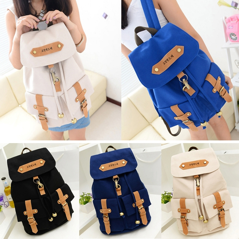 Fashion Cute Lady Girls Versatile Vintage Canvas Satchel Backpack Shoulder School Bag For Teenager Girl Women