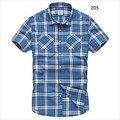 2015 novo item 100% algodão xadrez camisas casuais dos homens de moda masculina manga curta-camisa azul grade plus size 2xl 3xl