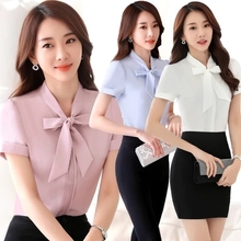 New professional bow-tie chiffon shirt short sleeve summer han fan waist work clothes with white shirt overalls