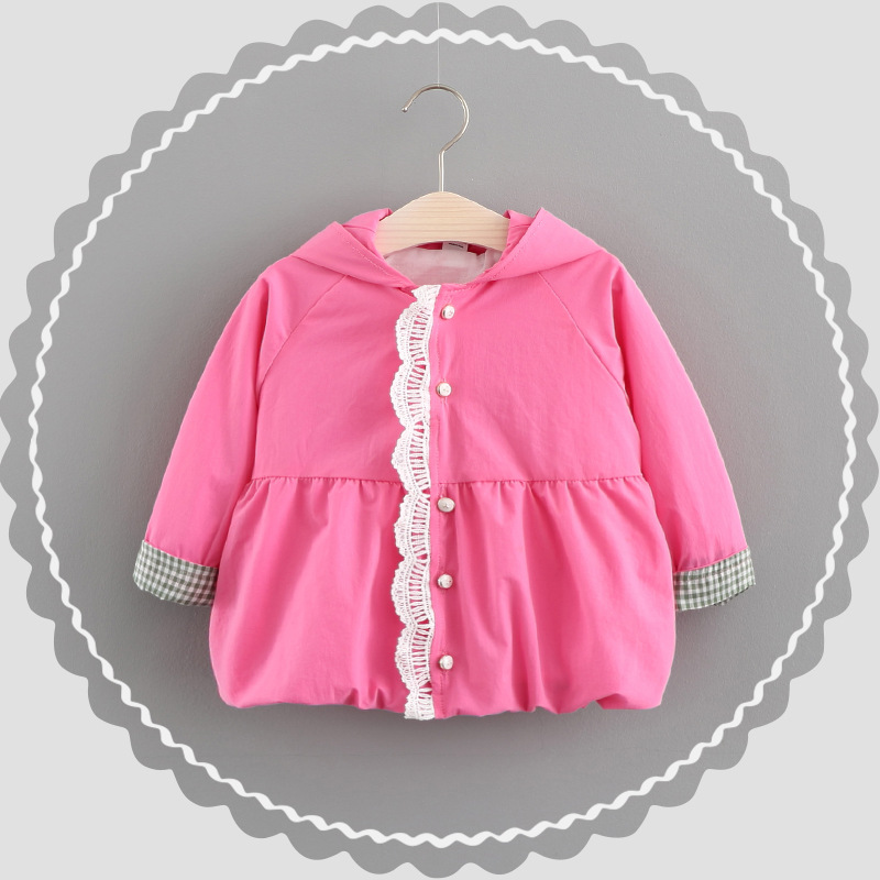 6M-3T Baby Clothing Coat Baby Girl Clothes Lace Cute Rabbit Ears Hooded Jacket Cotton Windbreaker Coat Autumn Coat For Girl
