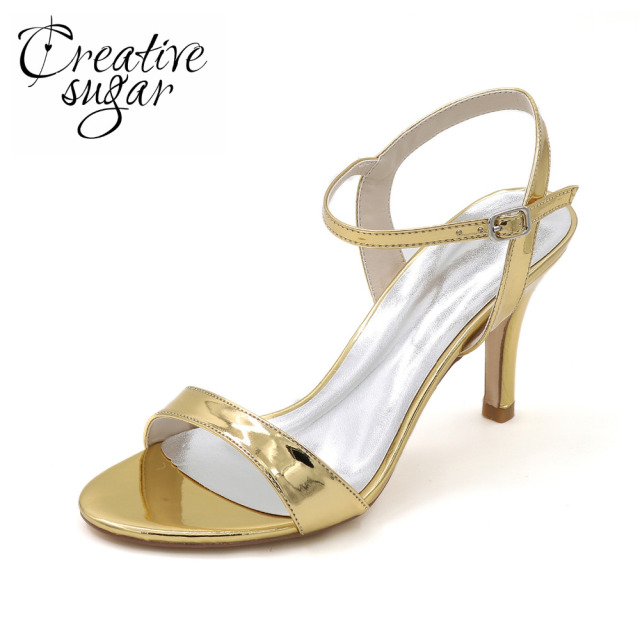 Creativesugar metallic PU silver gold black blue woman simple sandal summer dress shoes 8.5cm fashion show prom party 4 cplors