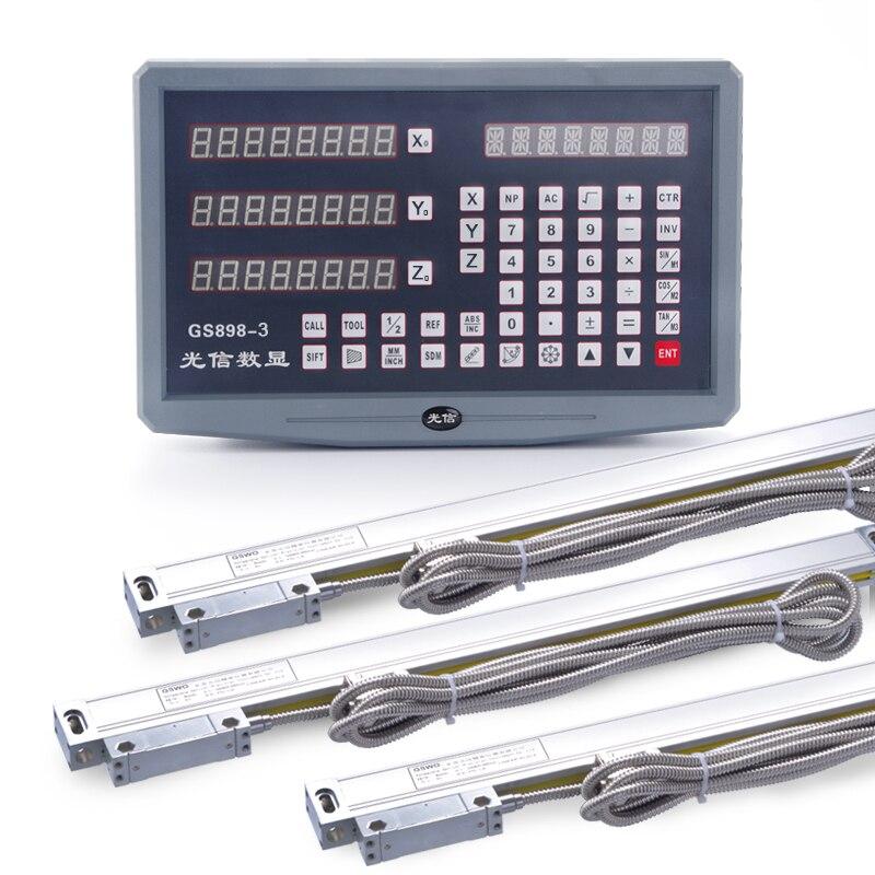 Бесплатная доставка GSWO 3 оси фрезерный станок УЦИ цифровая индикация и комплект из 3 предметов 0 1000 мм линейная шкала с высокой точностью