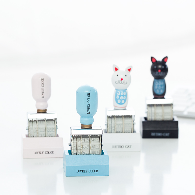 Fromthenon Lovely Cat Date Stamp Vintage Retro Roll Date Stamps Planner Kawaii Stamp Diy Scrapbooking Diary Notebook Accessories diy cute kawaii wooden stamp animal cat dog bird tree stamps set for diary photo album scrapbooking stationery free shipping 610 page 1