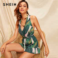 SHEIN Boho Green Crisscross Tie Back Tassel Drawstring Tropical Romper Women Summer Sleeveless Playsuit Sexy Beach Style Rompers