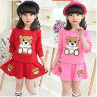 JENYA 2017 Hot Sale Children Clothing Set Baby Girls Bear Long Sleeve Top Coat Bear Print