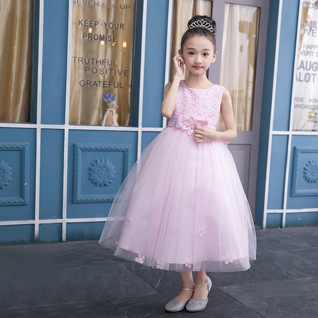 Princess Dresses for Baby Girls Sleeveless Bow Pink White Party ...