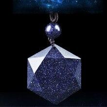 Niebieski piasek heksagram naszyjniki obsydian wisiorek gwiazda dawida szczęście miłość kryształ biżuteria tantryzm naszyjniki Party prezenty