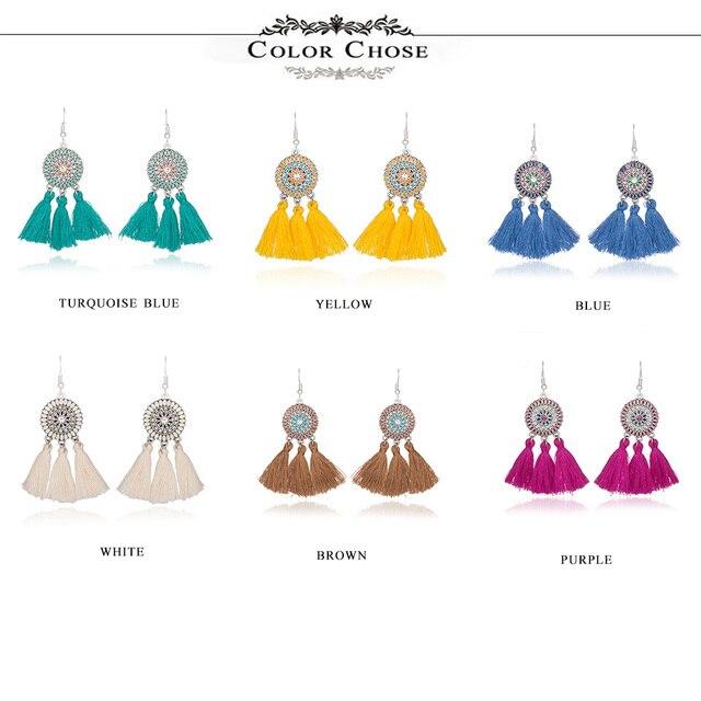 Ethnic earrings for women Cross long cloth tassel earring Dreamcatcher drop bohemia vintage statement boucle d'oreille brinco 1