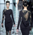 2017 árabe vestidos de fiesta black lace mangas compridas beading cristais curto sheer evening prom party dress vestido custom made