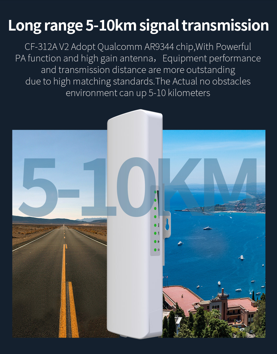 2pcs High Power Outdoor WIFI Router 5.8Ghz Wi Fi Access Point CPE 5-10KM 48V POE Bridge 2*14dBi Antenna Wireless Wi Fi Repeater