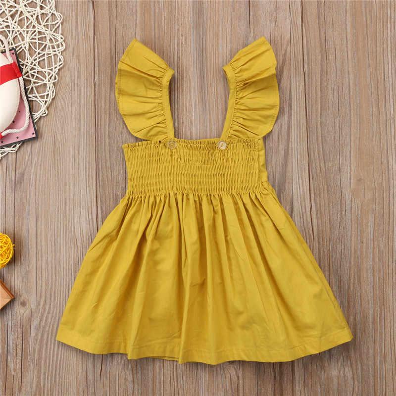 PUDCOCO Nieuwste Leuke Pasgeboren Kids Baby Girl Ruffle Mouwloze Jurk Prinses Kleding Casual Outfits Zomer Jurken