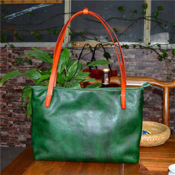 Nesitu Black Red Coffee Yellow Green Soft Vegatable Tanned Genuine Leather Women Shoulder Bags Lady Female Handbags Tote M32001