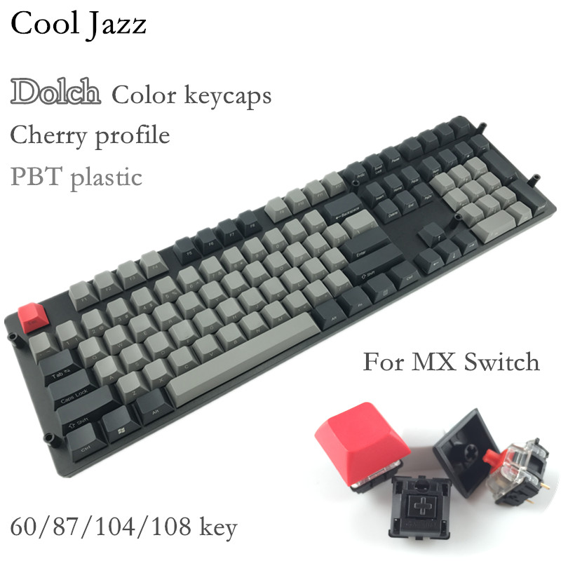 Cool Jazz Black Gray mixed Dolch Thick PBT 104 87 61 Keycap Mac Keys cherry Profile Key caps For MX switch Mechanical Keyboard switch keycap o ring sound dampeners white for mechanical keyboard keys 104 pieces key cap rubber o ring switch buffer