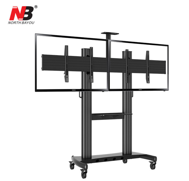 "NB AVT1800-60-2A Dual Screen TV Mobile Cart 40""-60"" LED LCD Plasma TV Mount Trolley Stand With AV Shelf And Camera Holder"
