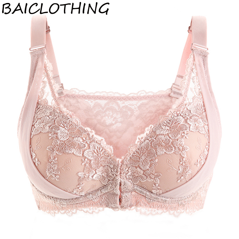 BAICLOTHING Womens 3/4 Cup Underwire Lace Floral Front Closure Embroidery Big Size Bra Lingerie for Women 34 36 38 40 42 B C D