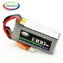 2PCS MOSEWORHT 3S RC lipo battery 3S 11.1v 1300mAh 30C-60C For RC helicopter car boat quadcopter Li-Polymer cell