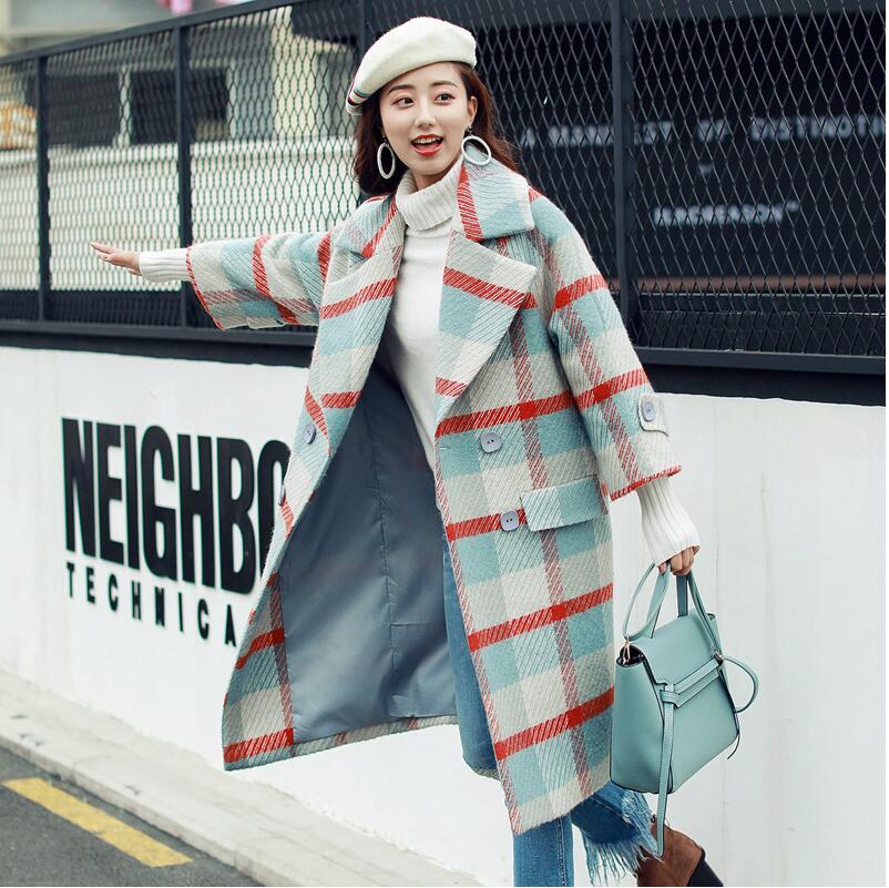 SexeMara  Autumn and winter loose lapel plaid long-sleeved coat free shipping
