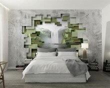 Beibehang 3d wallpaper stereoscopic polygon geometric concrete wall waterfall photo modern home decoration mural