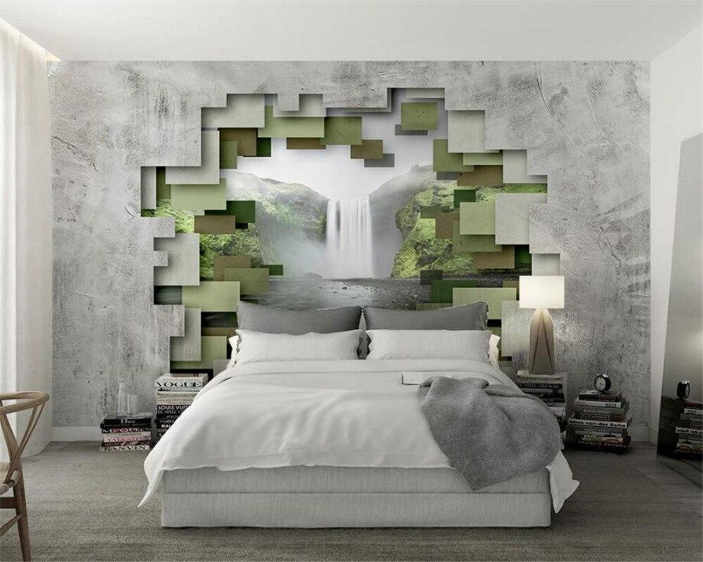 Beibehang 3d 壁紙立体ポリゴン幾何コンクリート壁の滝フォト壁紙現代