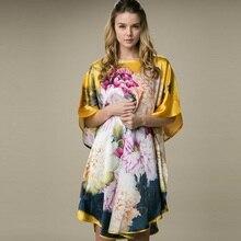 100% slik одежда женские платья шелк тутового шелкопряда платья с принтом стиль платья для беременных женская летняя обувь платье женские пижамы 1677