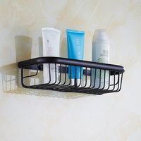 30cm Square Antique Black Bathroom Shelves Wall Mounted Retro Kitchen Storage Shelves Baskets Copper Shelf Rack