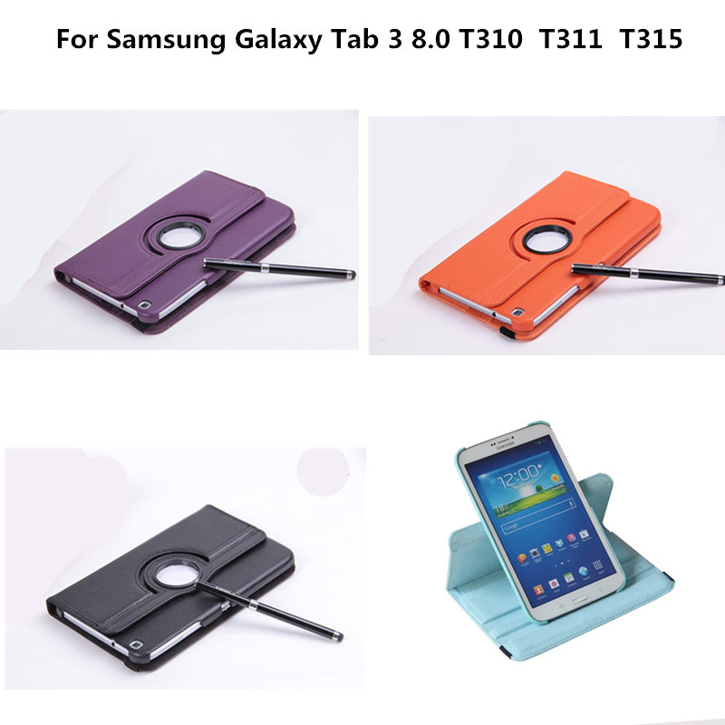 PU Leather Cover 360 Degree Rotating Stand Case For Samsung Galaxy Tab 3 8.0 inch T311 T310 T315 SM-T310 SM-T311 T315C  Tablet luxury pu leather silicon case for samsung galaxy tab 3 8 0 sm t310 t311 t315 case cover funda fashion tablet flip stand shell