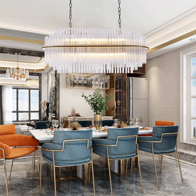 Contemporary Luxury Rectangular Linear Island Dining Room: Luxury Rectangle LED Glass Chandelier For Dining Room Gold