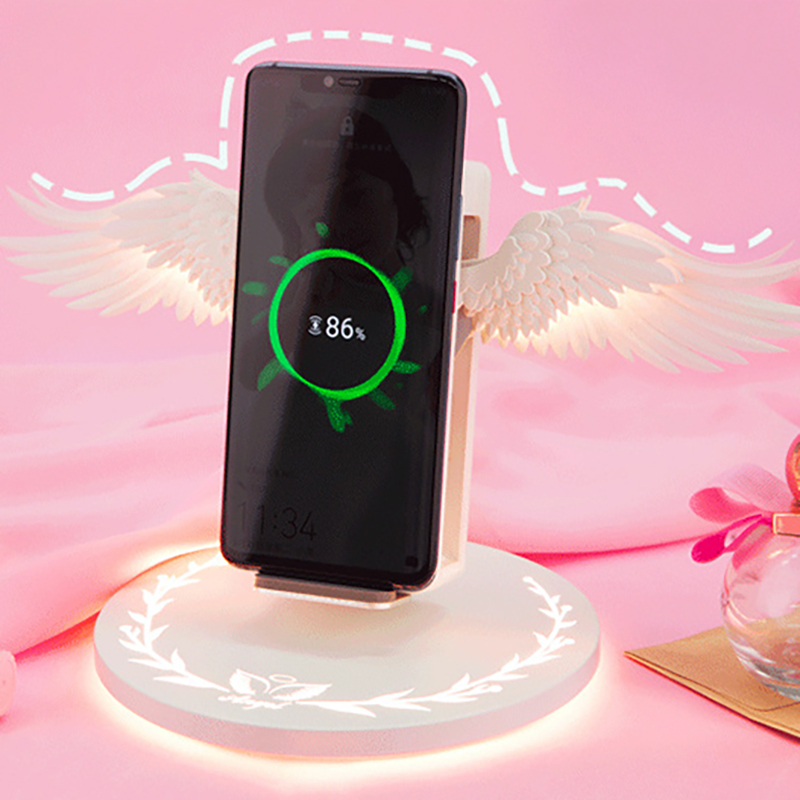 Image 2 - Wireless Charger Angel Wings Night Light Car Phone Holder 10W Mobile Phone Wireless Charger For Android Apple Usb Fast ChargeMobile Phone Chargers   -