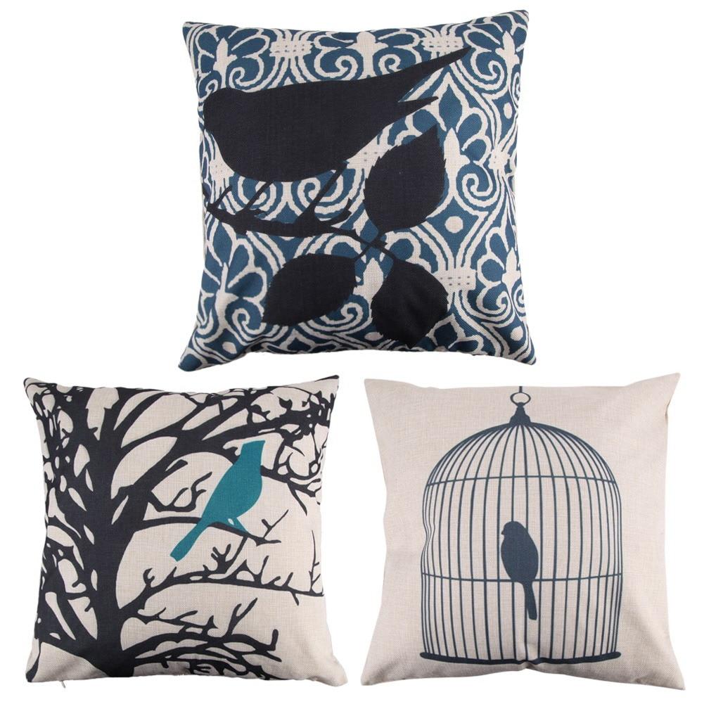 Decorative Pillow Cover Sets : Creative Bird Pattern Cotton Pillow Cover Pillow Cushion Cover Kids Bedding Sets Pillowcase Gift ...