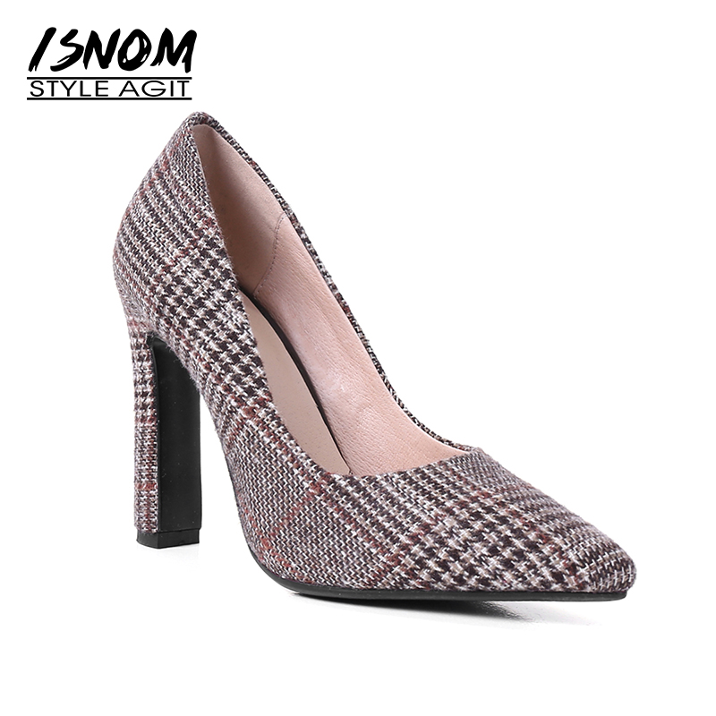 ISNOM High Heels Women Pumps Pointed Toe Square Heels Plaid Shallow Slip On Footwear 2018 New Spring Fashion Office Ladies Shoes new 2017 spring summer women shoes pointed toe high quality brand fashion womens flats ladies plus size 41 sweet flock t179