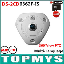 Fisheye IP Camera 6MP CMOS ICR Day Night Fisheye Network Camera DS-2CD6362F-IS 360 PTZ  IP Camera Built-in SD Card Slot