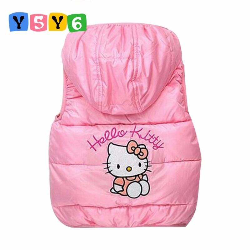 2018 bērni ziema Virsdrēbes Mēteļi Hello Kitty Meitenes veste kapuci veste Bērnu vējjakas jaka 100% kokvilnas mēteļi bērnu silts veste
