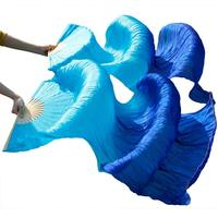 Women Belly Dance Fan Veils High Quality 100% Silk Fan Veil Belly Dance Accessories Gradient Color 1 Pair