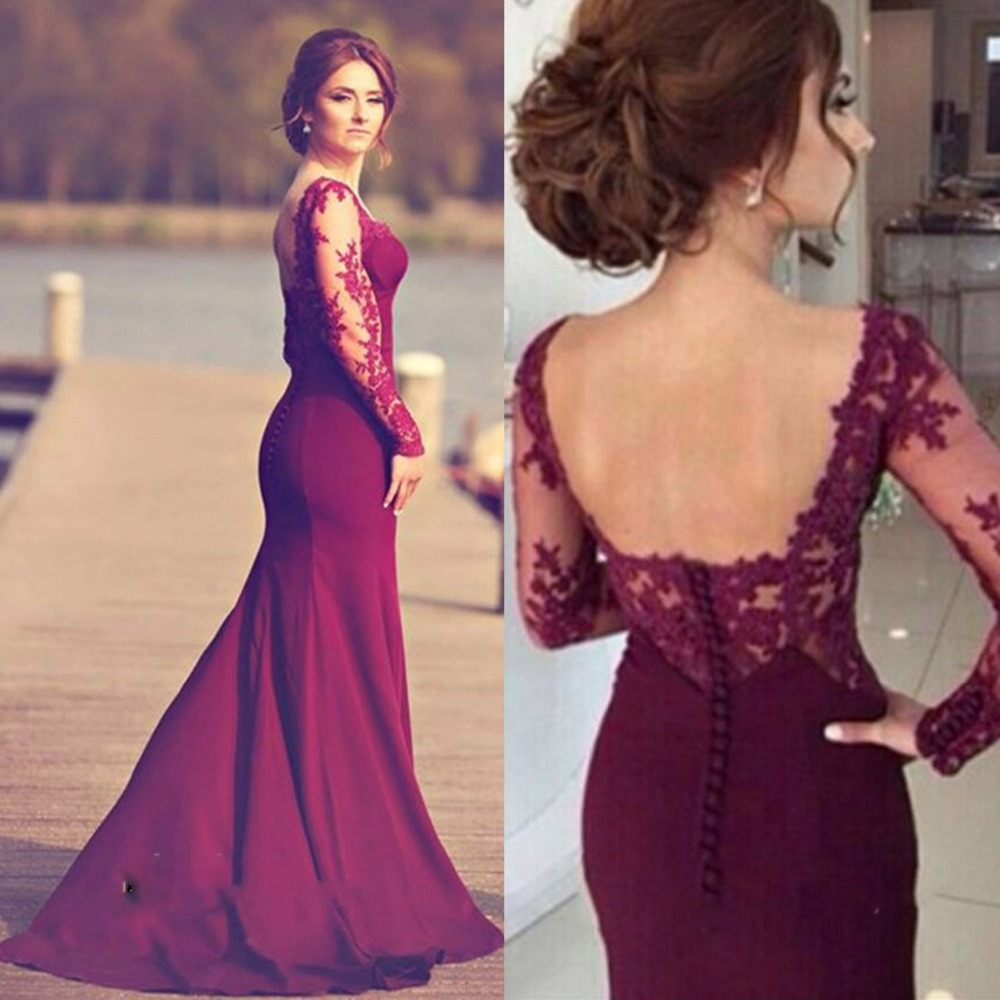 Eye-Catching Burgundy Lace Mermaid Engagement Dress Sweetheart Sheer Long  Sleeves Court Train Prom Gowns. US  129.99. Luxury Dark Red Mermaid ... 516492f9a1f8