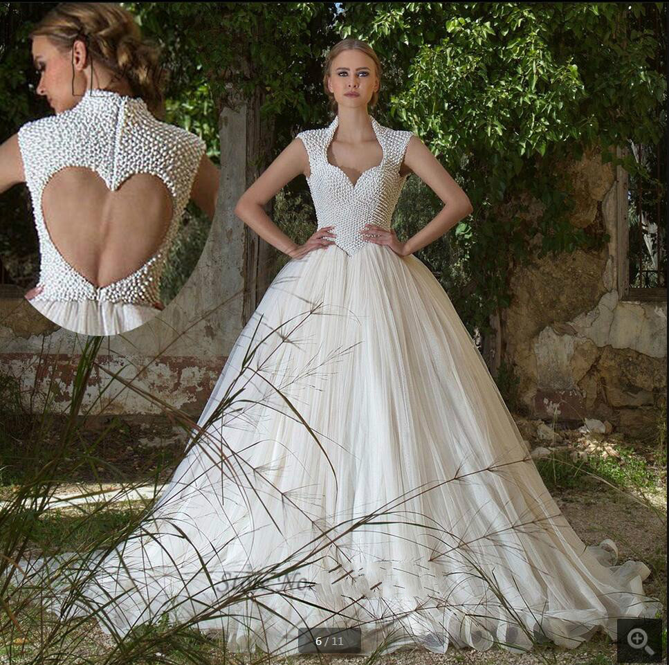 2016 Elegant Ball Gown Cap Sleeve Wedding Dress Sheer Back Sexy Pearls Wedding Gowns Princess Formal Wedding Dresses