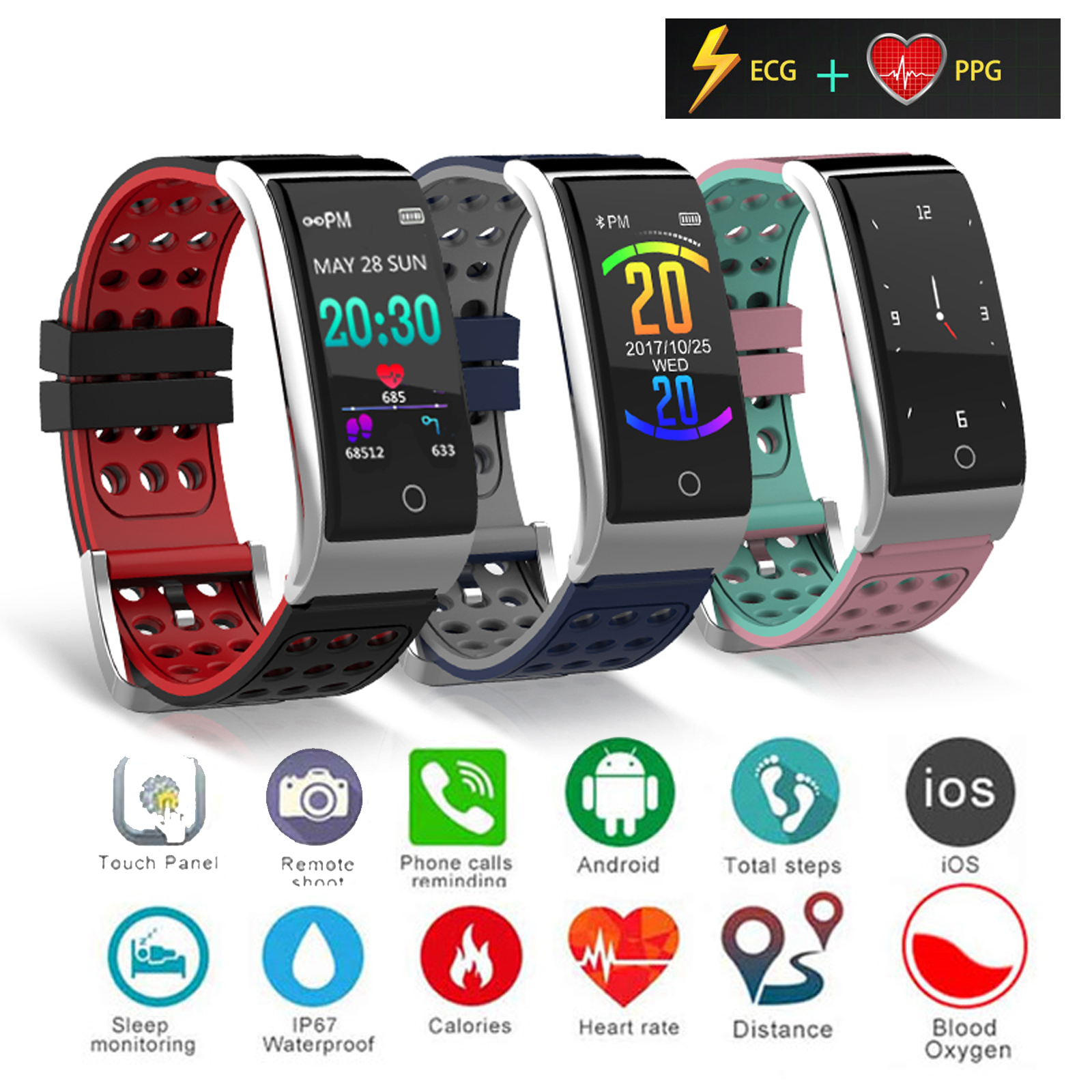 ECG PPG Smart Watch Bluetooth Sports Bracelet Heart Rate Blood Pressure Monitor For Android iOS Samsung iPhone XS Max XR 8 7