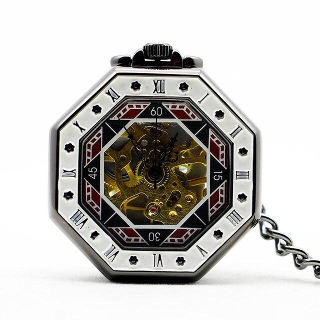 Octagon Roman Numbers Silver Mechanical Pocket Watch Men Women Hollow Skeleton H