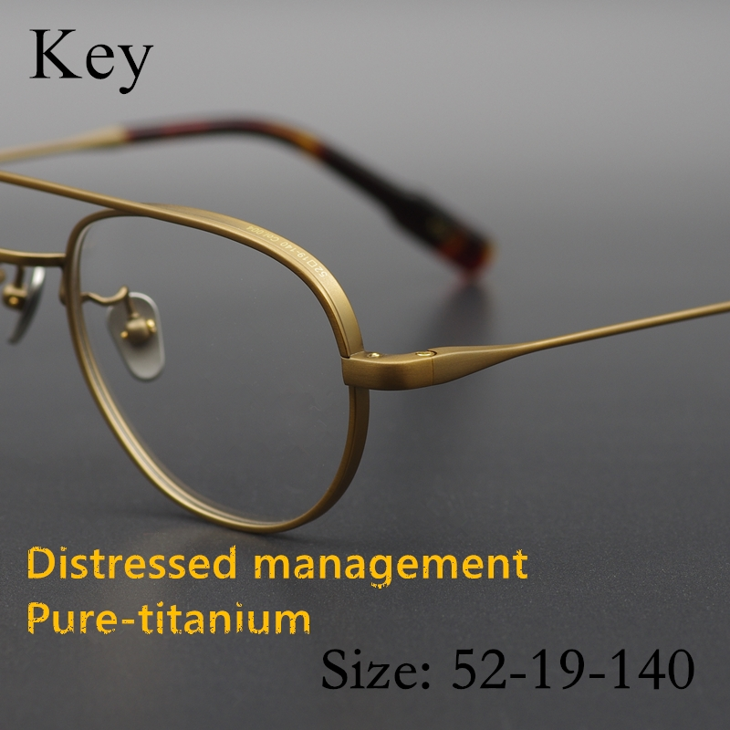 Limited edition Vintage Quality Ultralight pure titanium eyeglass frame Key classical round eyewear women men original