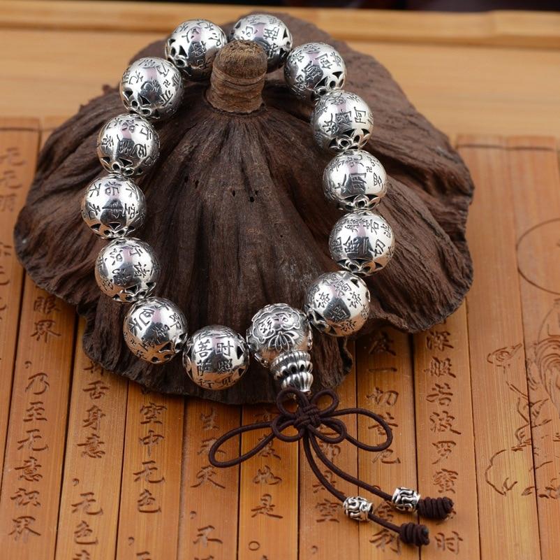 Ligne de bijoux en or empereur Bracelet en argent thaïlandais Bracelet Style archaïze coeur Sutra Couples personnalité présente