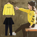 Girls Two Piece Clothing Sets Fashion Bow Long Sleeve Sweatshirt and Skirt Leggings Yellow Red 3-11 Years School Sports Suits